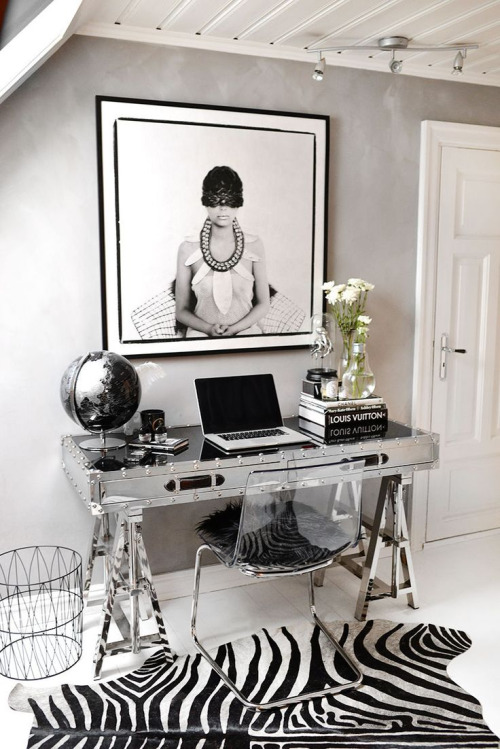 black and metal office nook