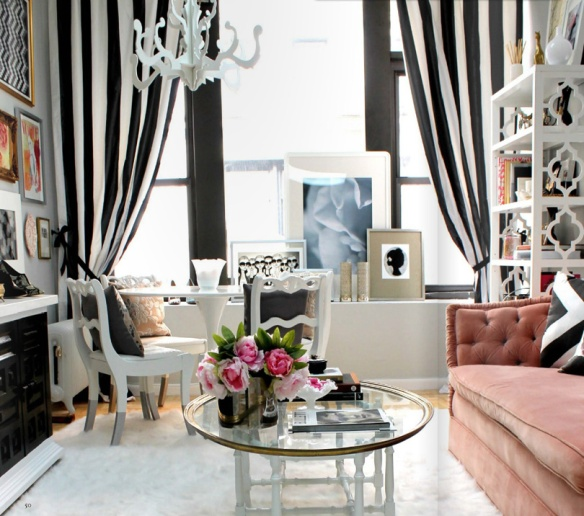 black, white and pink home office