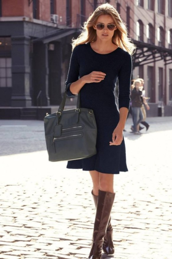 Navy dress with brown boots office look