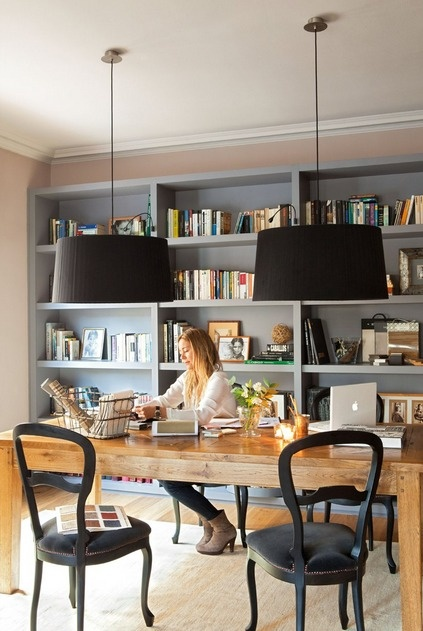 oversized pendant lights over desk