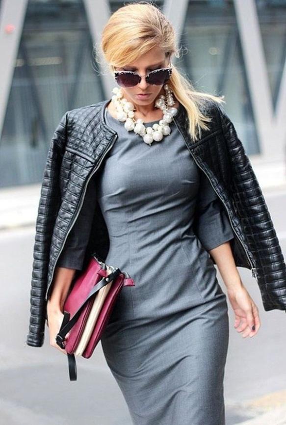 Grey dress with leather jacket