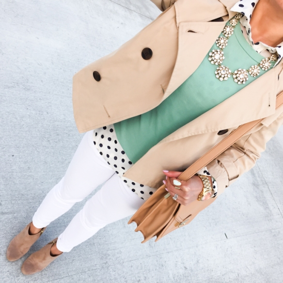 mint pullover white jeans
