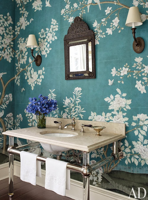 teal floral wallpaper in powder room