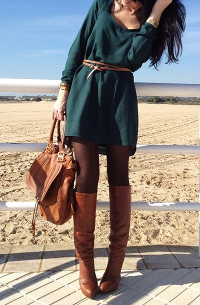 teal tunic long boots outfit