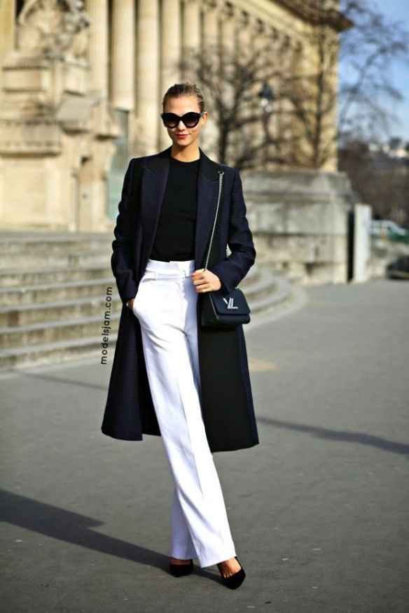 black top white pants winter