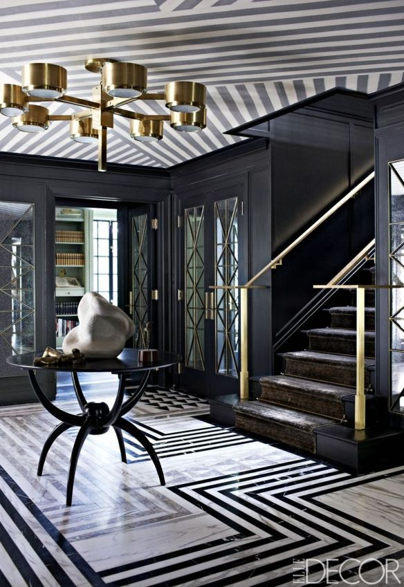 kelly wearstler black entrance hall