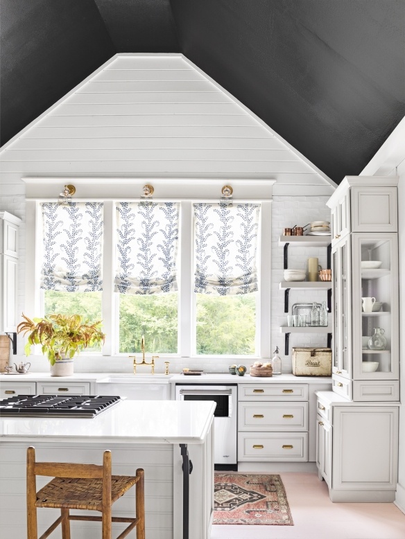 white kitchen with black ceiling